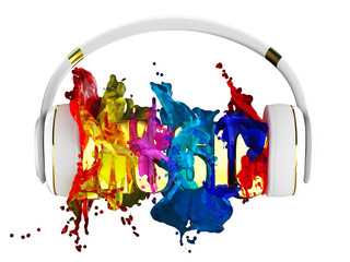 explosion of color paint from the headphones.