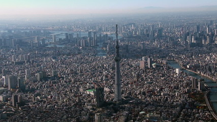 Tokyo Sky Tree Aerial view from Helicopter