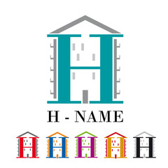Vector sign letter H, hotel and house