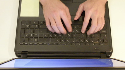 Typing On Keyboard, top view, fast