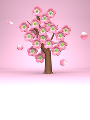 Pink Cherry Blossoms On Pink Text Space