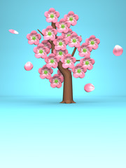 Pink Cherry Blossoms On Blue Text Space