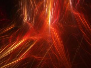 Hot glowing fiery lines in space
