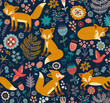 Seamless pattern with a fox - 78824949
