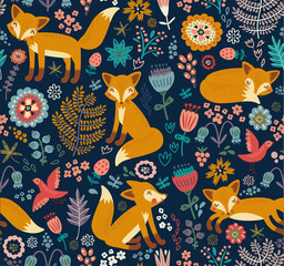 Seamless pattern with a fox