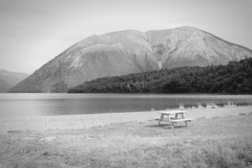 Nelson Lakes in New Zealand. Black and white.