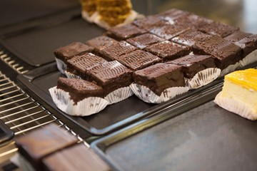 Display of fresh and delicious slices of brownies