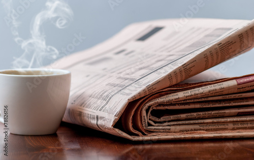 canvas print picture Newspaper and coffee
