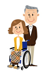 シニア 女性 車椅子 男性