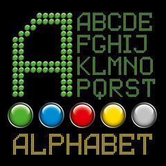green buttons letters alphabet