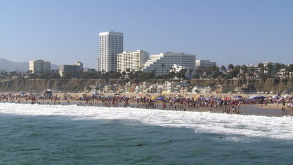 Crowded Beach In Santa Monica - Time Lapse