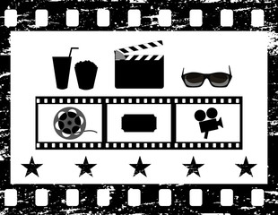 Film strip, frame, movie icon collection, set