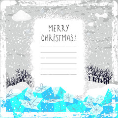 Christmas winter landscape greeting card