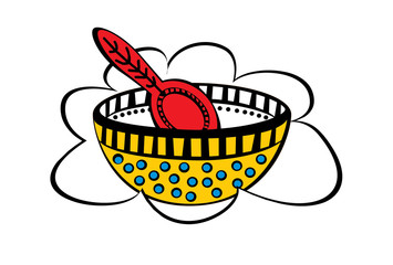 Yellow bowl with blue dots and red spoon on a cloud shaped frame