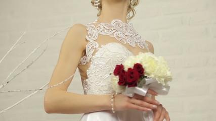 Bride holding bouquet flower