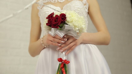 Hands bride holding bouquet flower 2