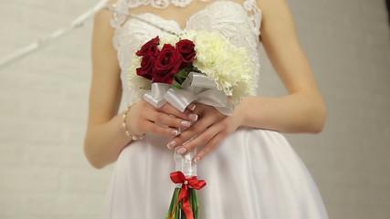 Hands bride holding bouquet flower 2