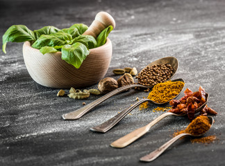 basil and spices