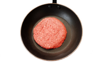Close-Up of a Beef Burger in a Pan
