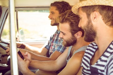 Hipster friends on road trip