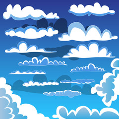 Collection of illustrated cartoon clouds.