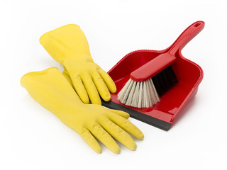 Gelbe Gummihandschuhe und Kehrblech mit Handbesen