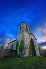 Church in Bitoriano at sunset