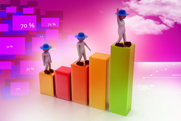 Business people climbing the growth