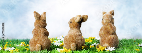 canvas print picture Easter bunny and Easter eggs