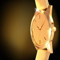 Golden watch  on a black  background