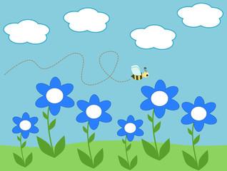 Bee and daisy flowers cartoon illustration