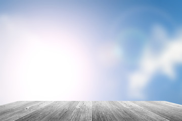 Wood terrace and blurred Blue sky