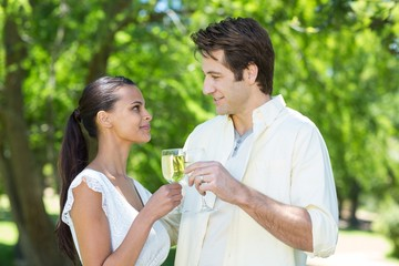 Happy couple toasting in the park