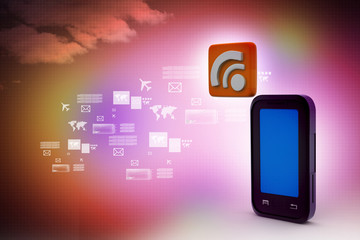 smart phone with rss sign
