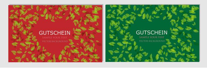 Gutschein Karte Herz Blätter