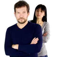 Man looking angry with girlfriend upset