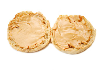 Two English Muffin Halves with Peanutbutter