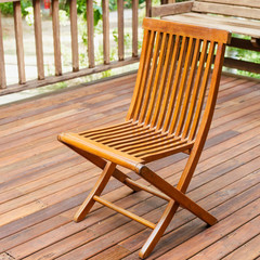 Teak wood Chair stand on the terrace