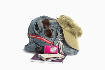 Preparation for travel, hand bag, note book, road map,camera ,ha