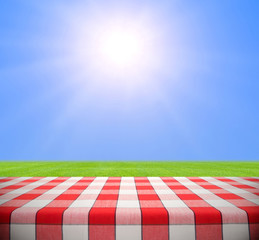 Picnic Table in Summer Field