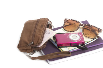 Travel plan wallet , road map ,camera and sun glass  on a note b