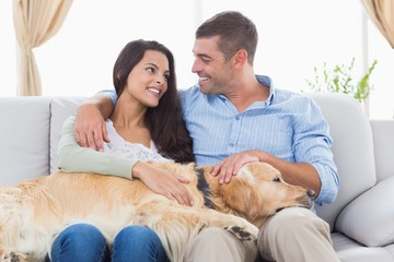 Happy couple stroking Golden Retriever on sofa