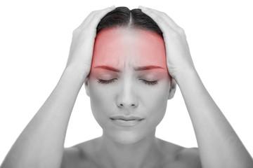 Young woman having strong headache