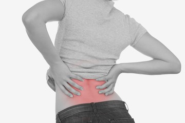 Rear view of woman with backache