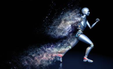 Running robot shattered into dust
