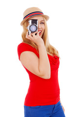 Teenage girl holding a film camera