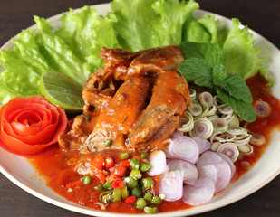 Spicy Sardines in tomato sauce canned fish ,Yum thai food style