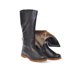 Women's Black Leather Boots Isolated