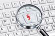 Leinwanddruck Bild - Lupe mit Tastatur und Paragraph - Symbol