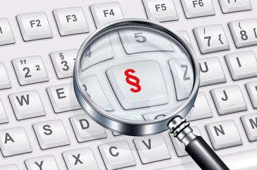 Lupe mit Tastatur und Paragraph - Symbol
